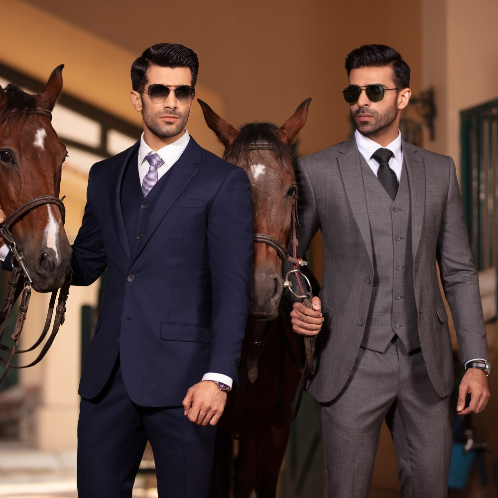 Plain Grey, Super 140's - Florence 3 Pc Suits