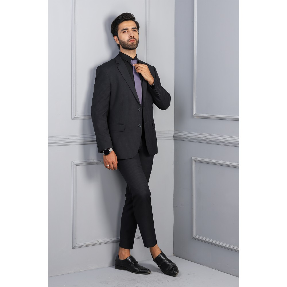 Striped-Charcoal, Wool Rich Suit