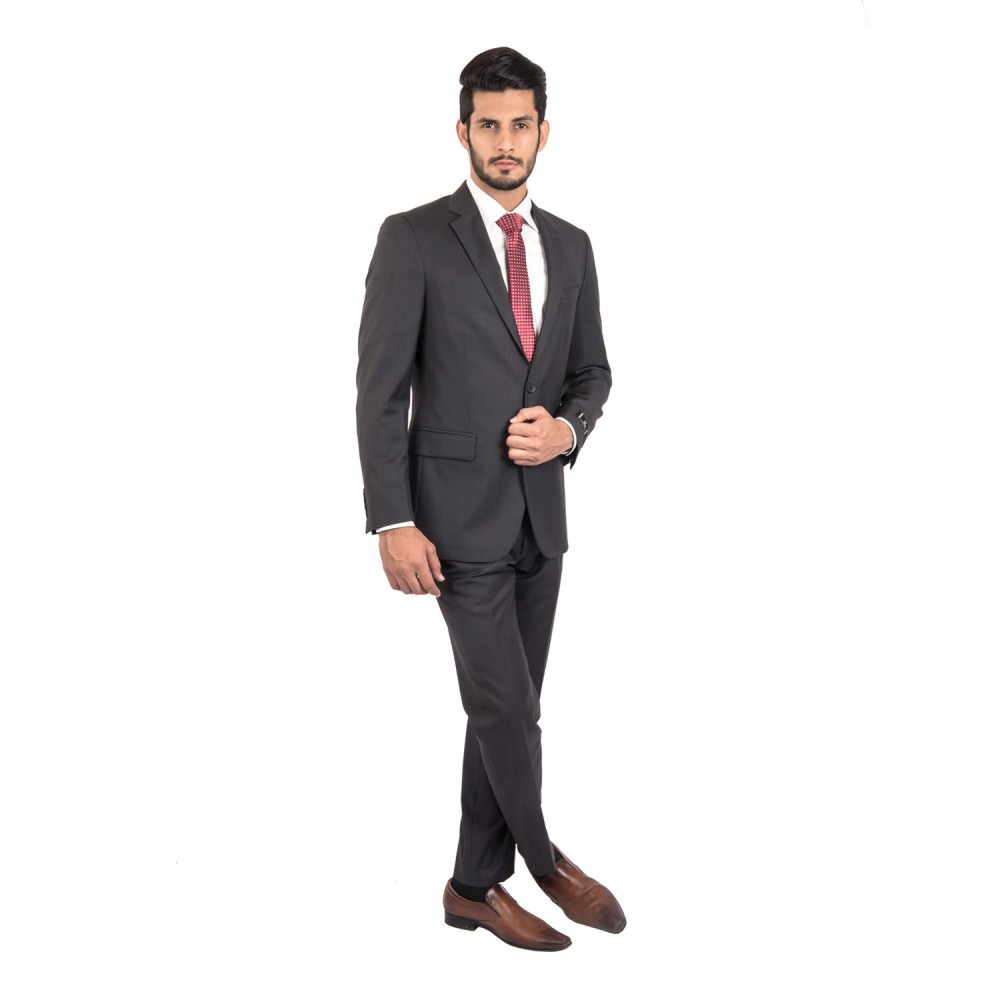 Suit Wool Rich Grey Plain - Slim