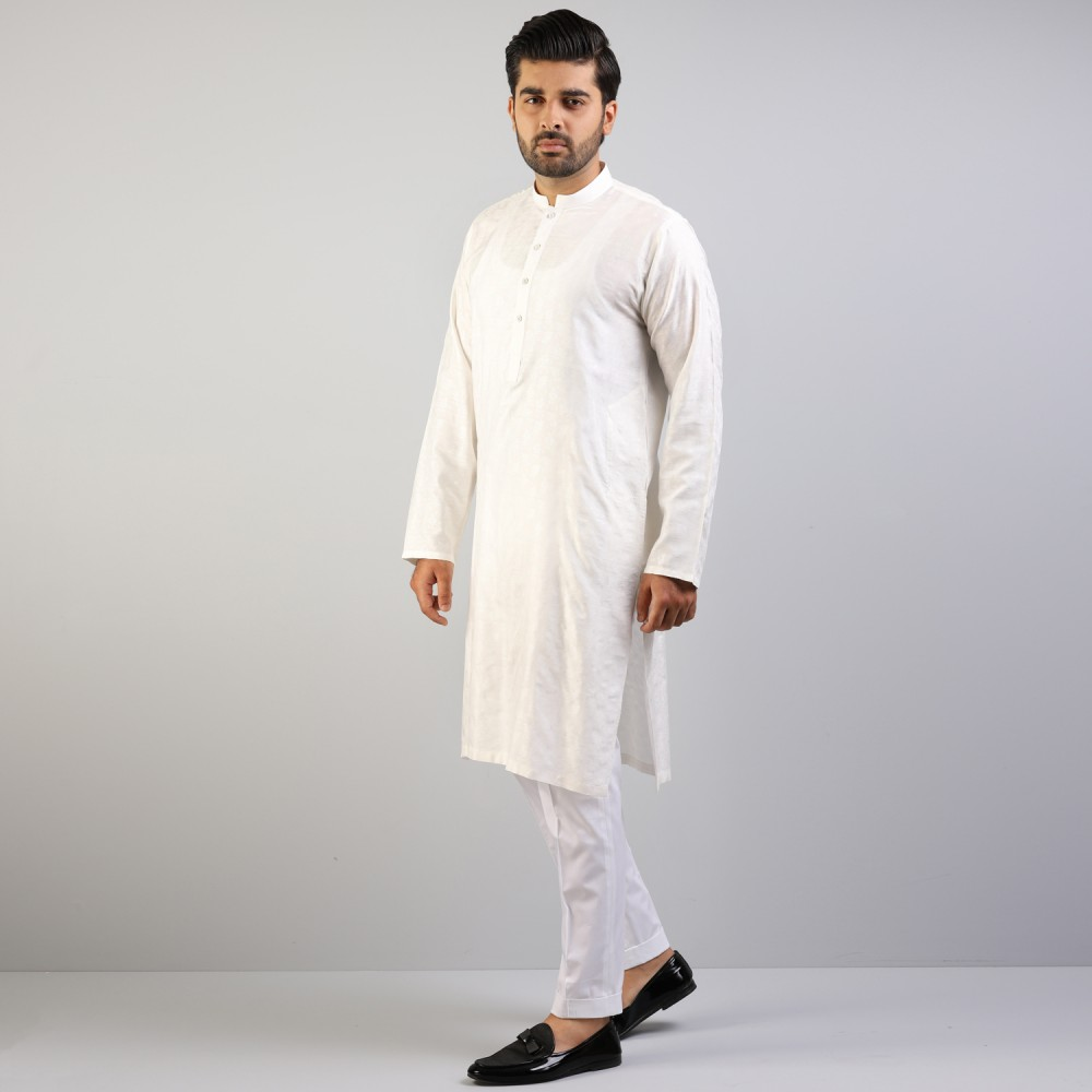 White Big Floral Self Pattern  Jamawar Kurta