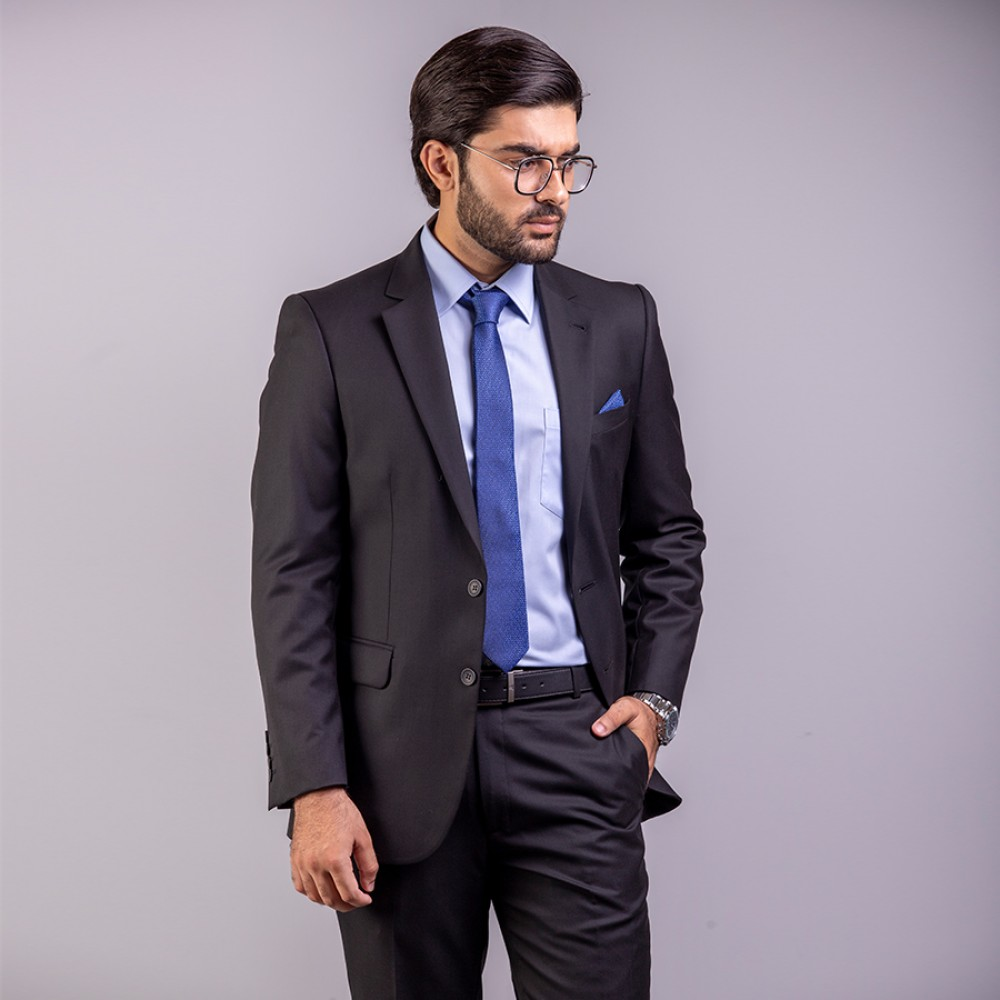 Plain Florence Black Suit Regular