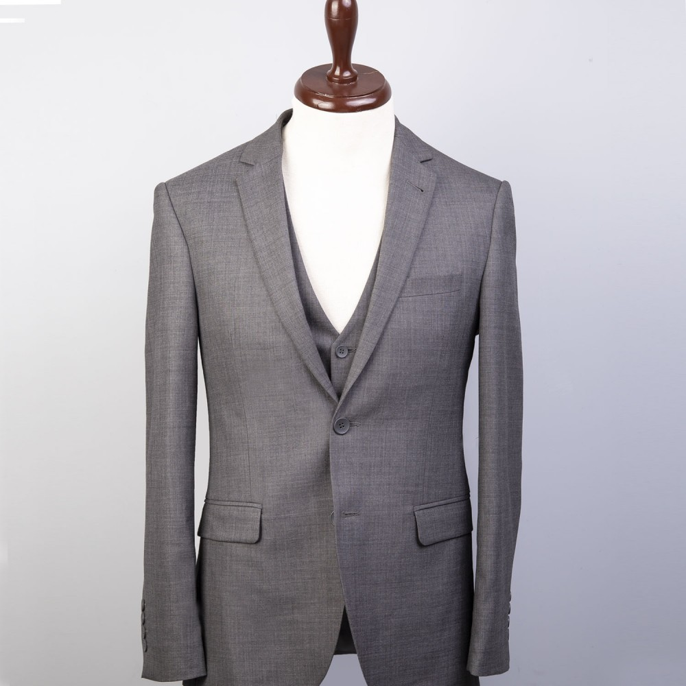 Plain Grey 3 Pcs Suit - Florence
