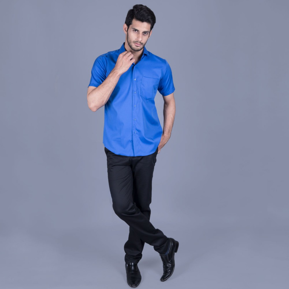 Half Sleeves Shirt - Delta-1 Blue Textured