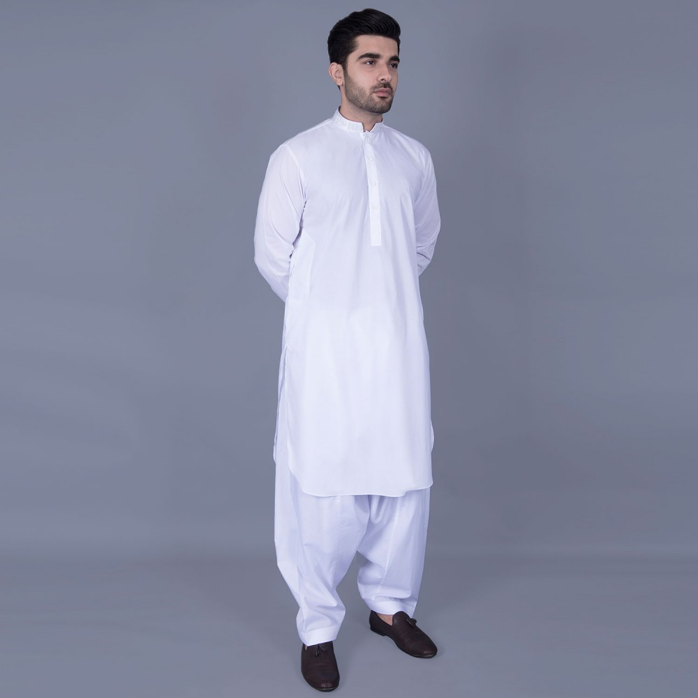 Shalwar Kameez Embroidered - Luxury Egyptian Cotton White