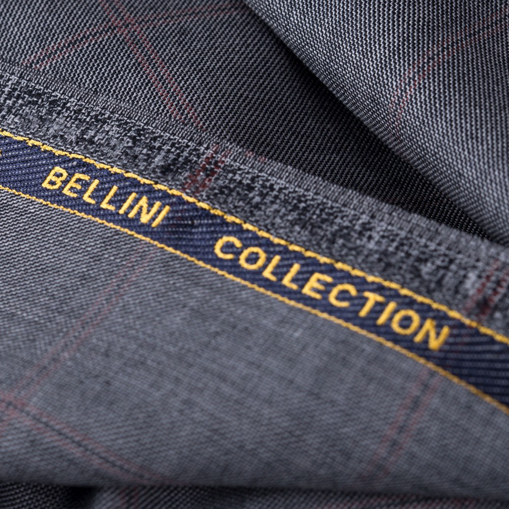 Broad Checks Medium Grey Super 100s, Bellini Suiting Fabric