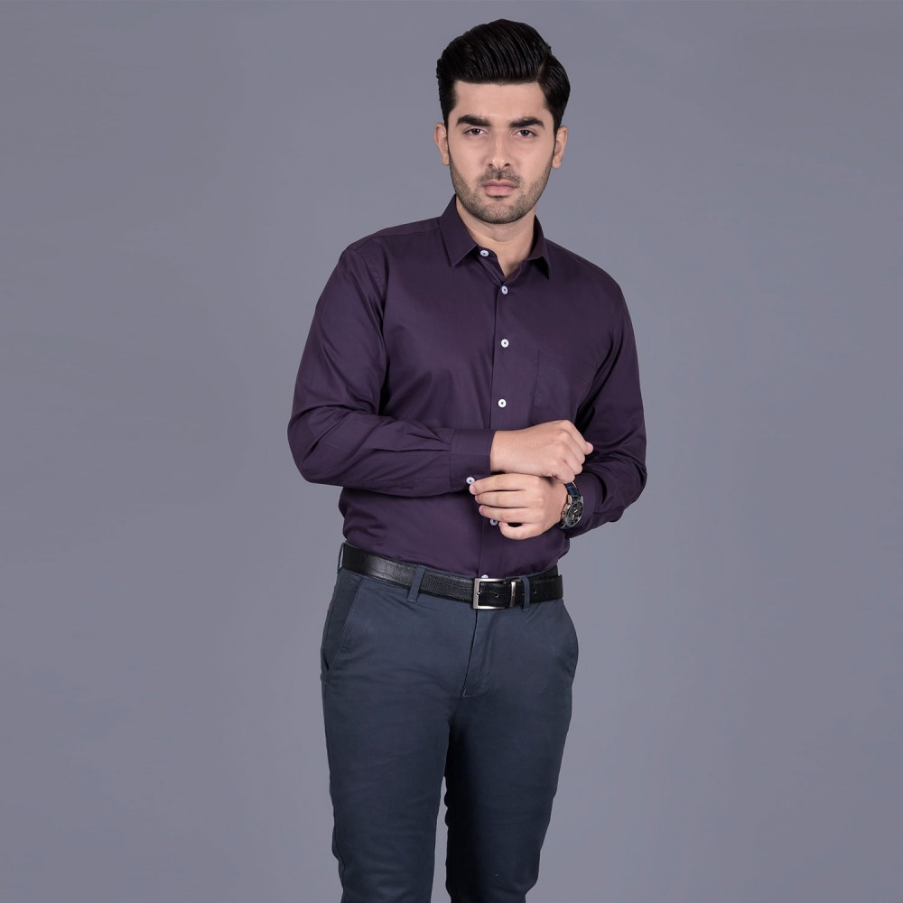 Plain Maroon, 100% Super Fine Cotton, Premium Formal Shirt
