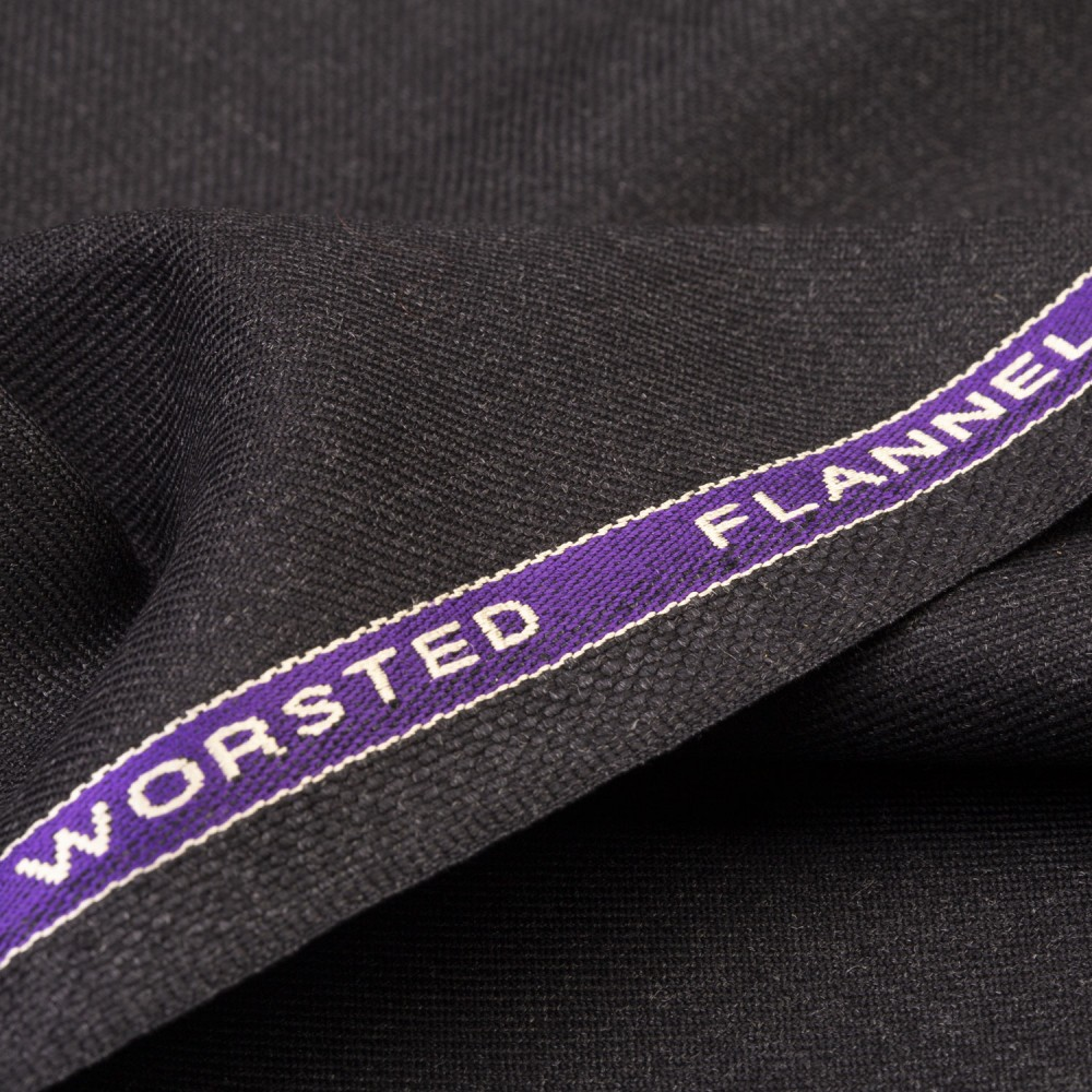Charcoal Plain Worsted Flannel