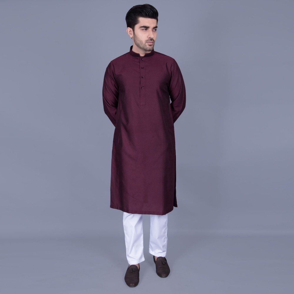 Jamawar Kurta in Maroon Mini Diamond Self Texture