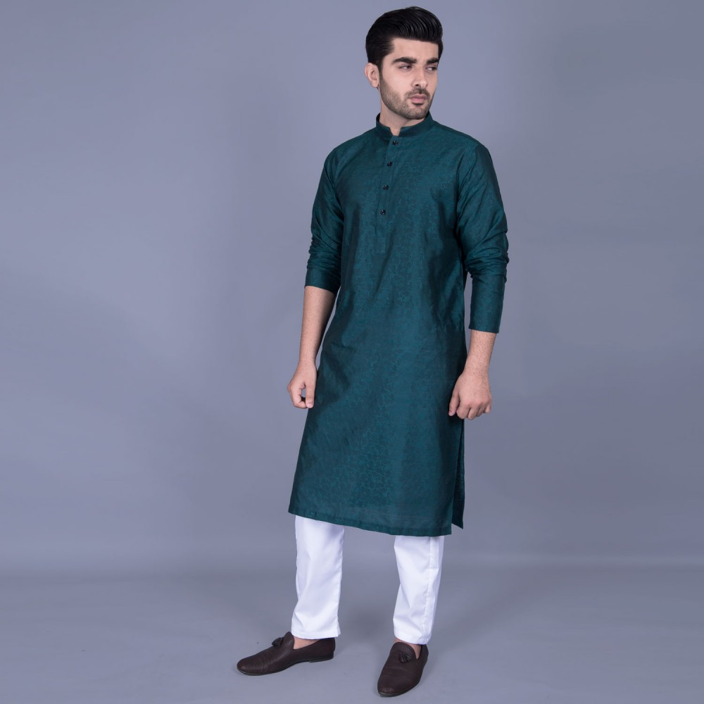 Jamawar Kurta in Green Floral Self Texture