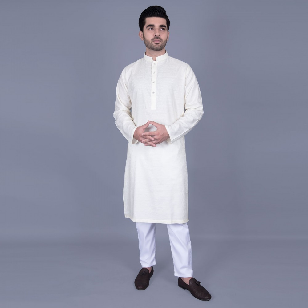 Jamawar Kurta in White Geometric Self Texture