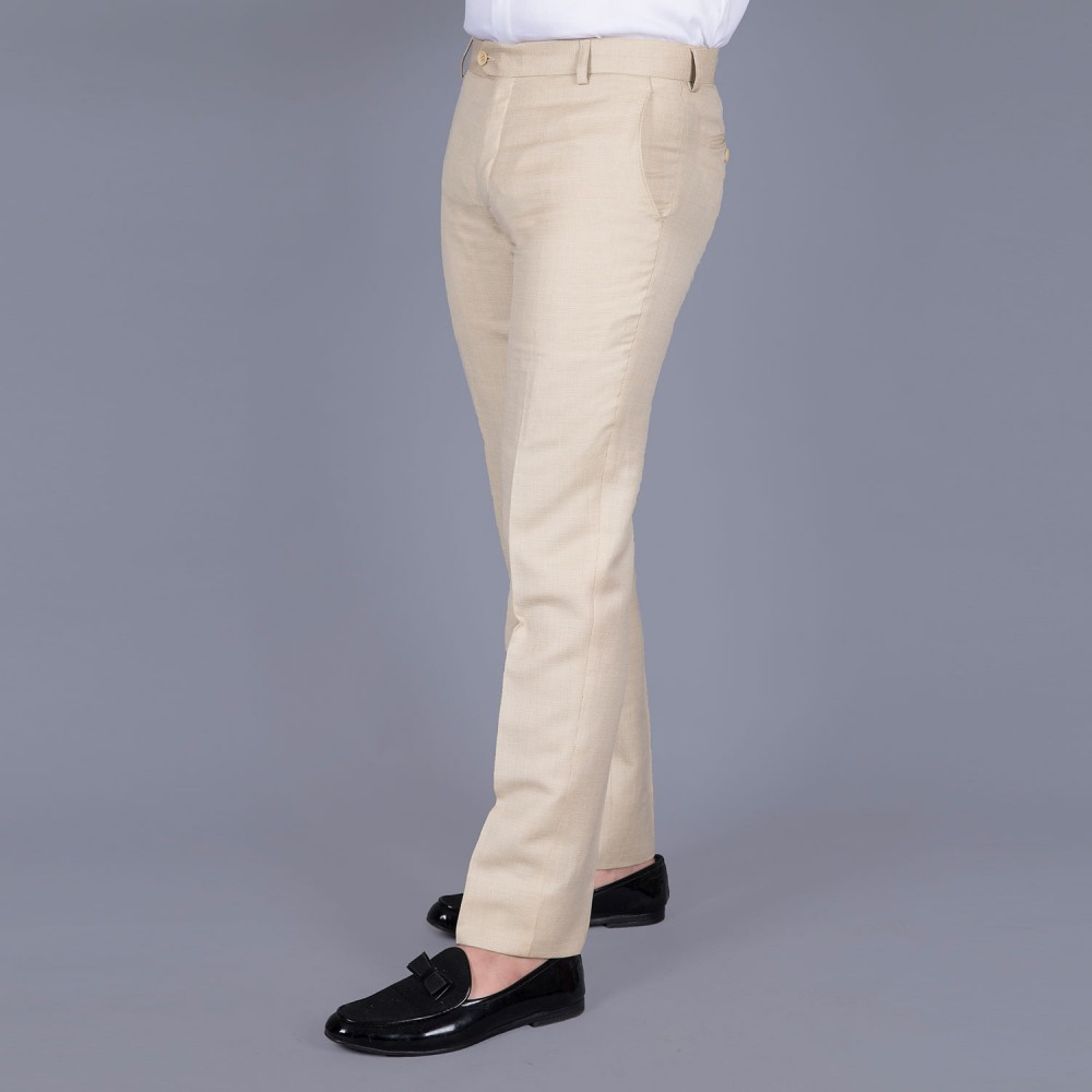 End on End Plain-Beige Linwool Trouser