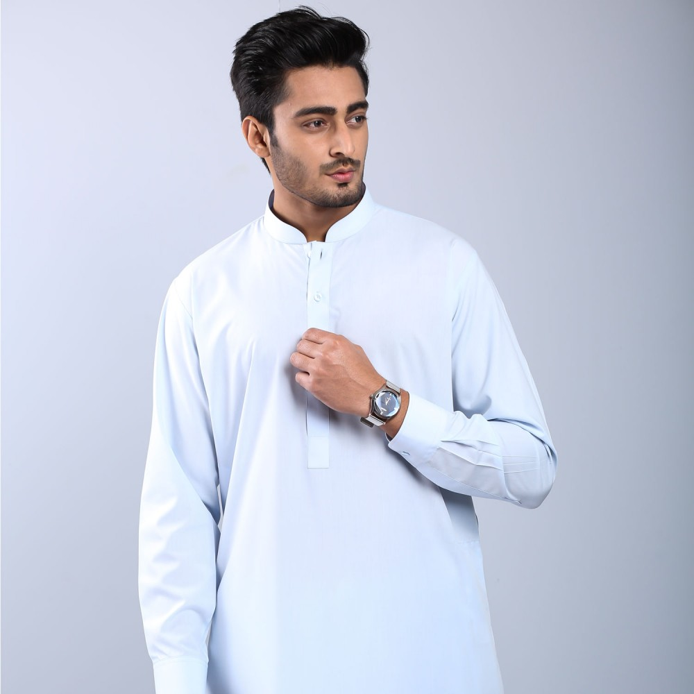 Plain Sky Blue Wash-n-Wear Shalwar Kameez