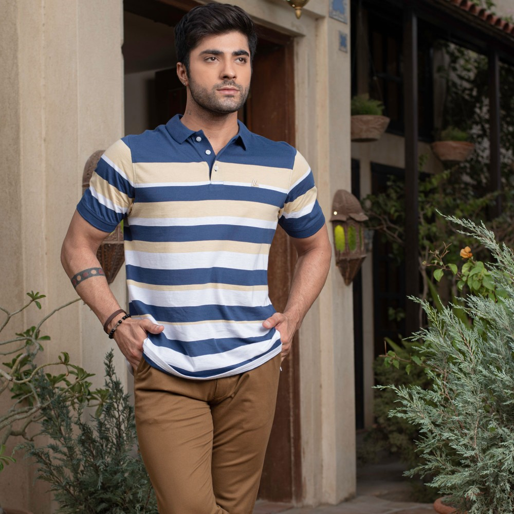 Striped-Beige/White on Navy Base, Regular Fit Yarn Dyed Polo Shirt