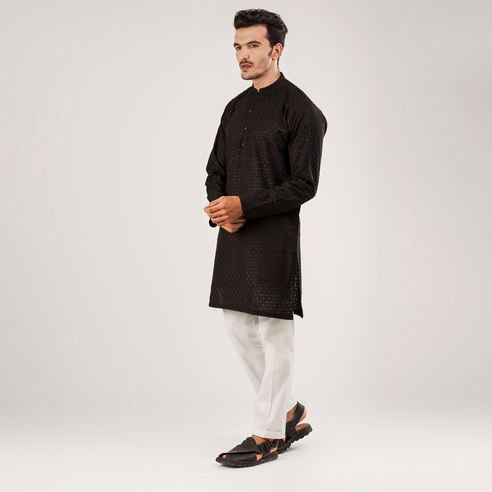 Black-Self Embroidered (Ring and Rectangle Style), 100% Cotton Short Kurta