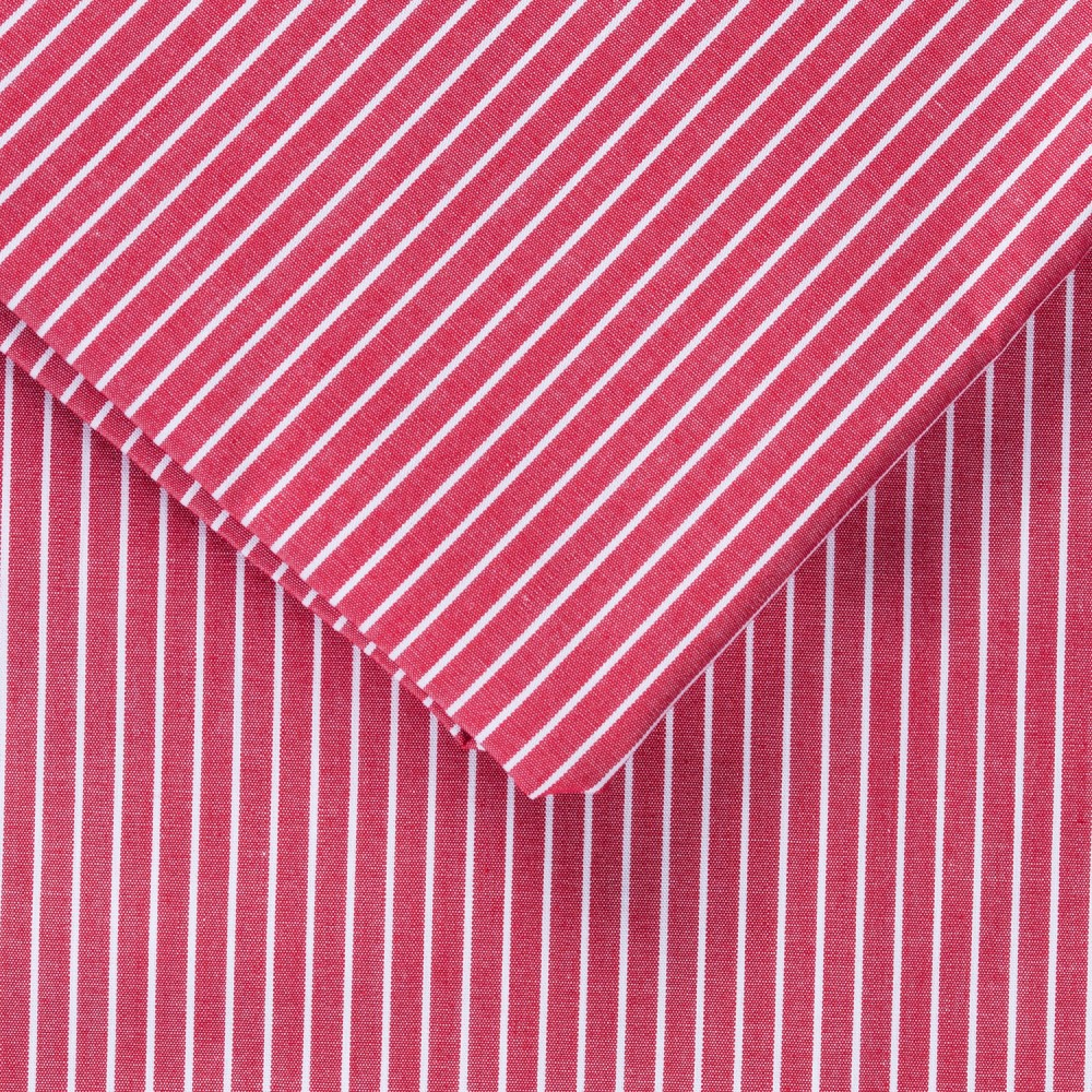 Striped Red on White Base Cotton Rich Shirting Fabric